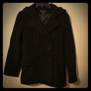 Jackets & Blazers - Black pea coat with hood